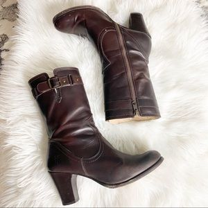 FRYE Fiona Stitch MID-CALF Riding Ankle Boots